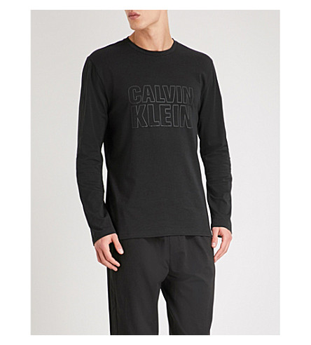 CALVIN KLEIN Logo-print stretch-cotton pyjama top (Black