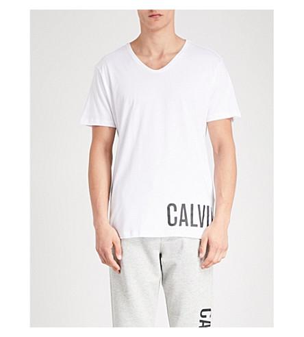 CALVIN estampado algodón logo de KLEIN con camiseta de blanca TwCTR4rq