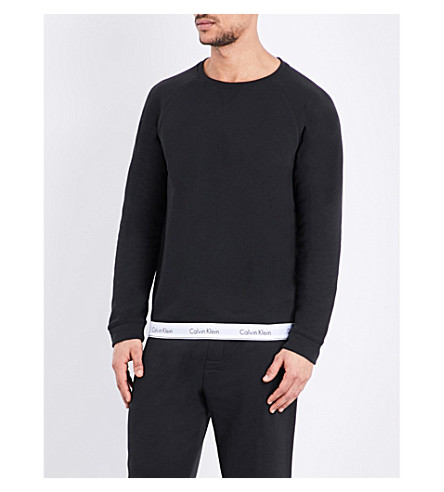 CALVIN KLEIN Logo-print cotton-blend sweatshirt (Black