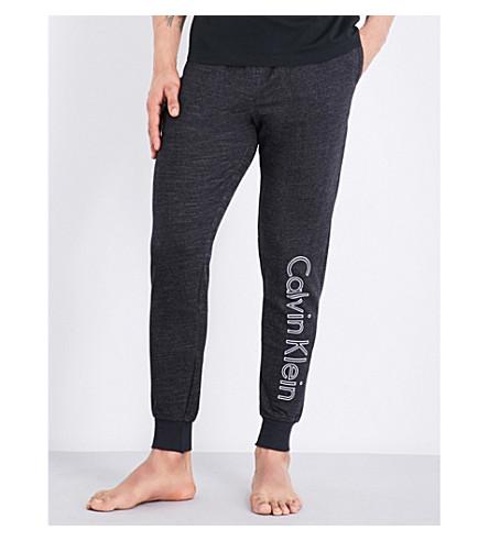 CALVIN KLEIN Logo-print marl jersey jogging bottoms (Black