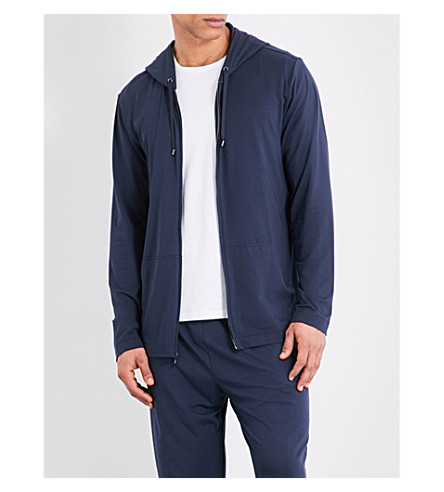 CALVIN KLEIN Infinite cotton-modal pyjama hoody (Carbon+blue