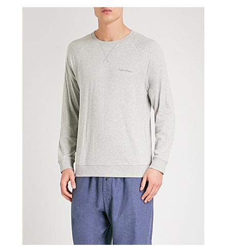 CALVIN KLEIN Logo-print cotton-blend pyjama sweatshirt (Lt+grey