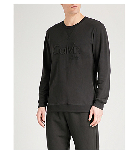 CALVIN KLEIN Embossed brand logo cotton-jersey pyjama top (Black