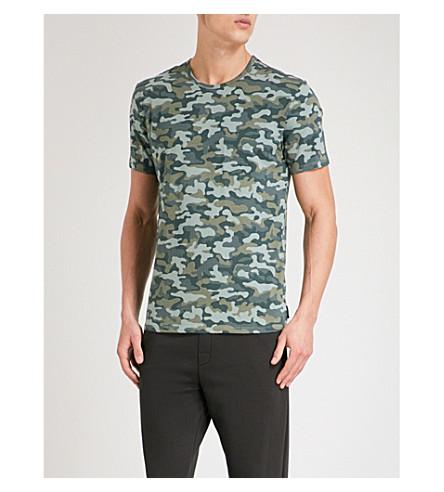 CALVIN KLEIN Camouflage-print stretch-cotton pyjama T-shirt (Khaki