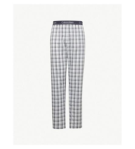 CALVIN KLEIN 格纹平纹针织棉睡裤 (灰色