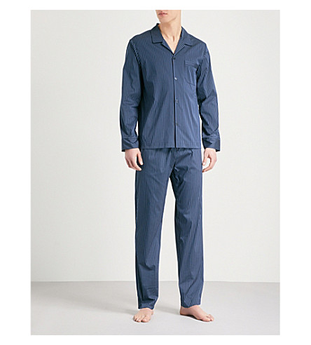 LA PERLA Striped cotton-blend pyjama set (Navy