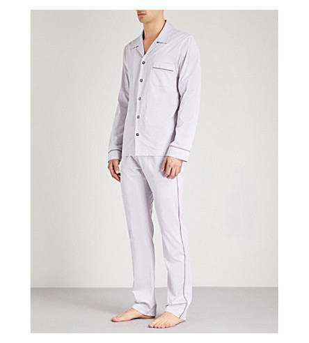 LA PERLA Textured cotton-jacquard pyjama set (Blk+gry