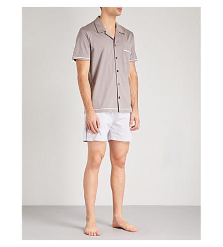 LA PERLA Textured cotton-jersey and cotton-jacquard pyjama set (Blk+gry