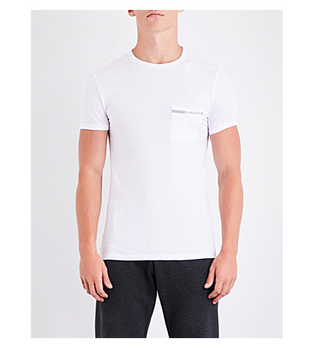 VERSACE Greca stretch-cotton T-shirt (White