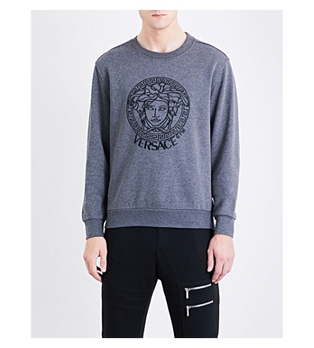 VERSACE Medusa cotton-blend sweatshirt (Grey+marl