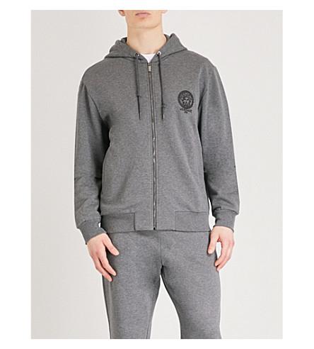 VERSACE Medusa cotton-jersey hoody (Grey+marl