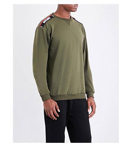 MOSCHINO Tape-detailed cotton-jersey sweatshirt (Khaki