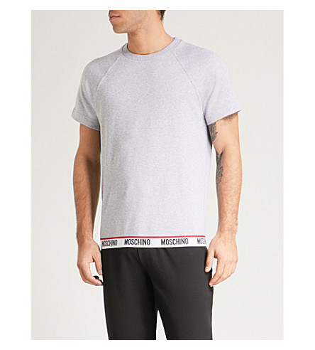 MOSCHINO Logo-print cotton T-shirt (Grey