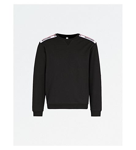 MOSCHINO Logo-tape cotton-jersey sweatshirt (Black