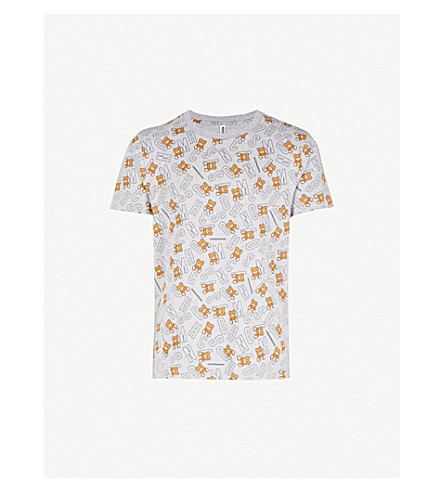 MOSCHINO Teddy-print stretch-cotton T-shirt (Grey