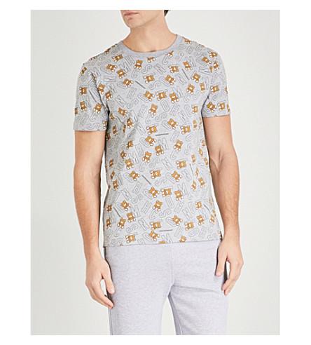 MOSCHINO Teddy-print stretch-cotton T-shirt (Grey