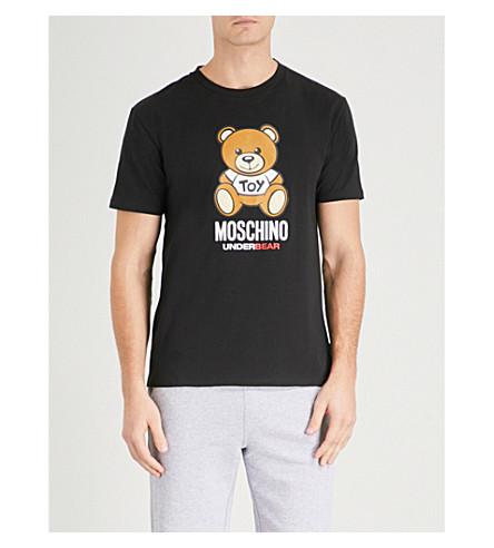 MOSCHINO Teddy-print stretch-cotton T-shirt (Black