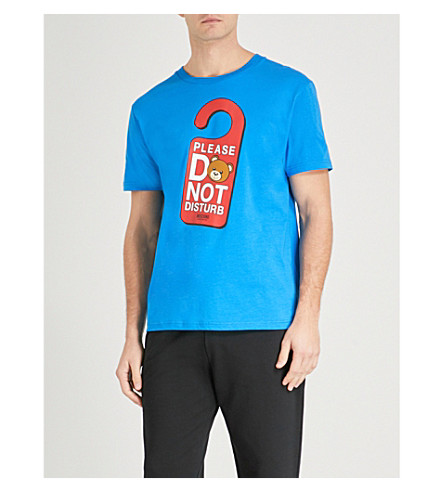 MOSCHINO Do Not Disturb stretch-cotton T-shirt (Blue