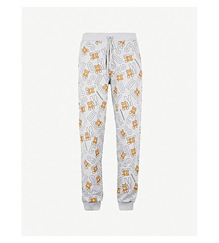 MOSCHINO Bear-print cotton jogging bottoms (Grey