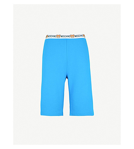 MOSCHINO Teddy-motif relaxed-fit cotton-jersey shorts (Blue