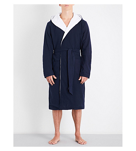 HAMILTON & HARE Hooded cotton-towelling dressing gown (Navy