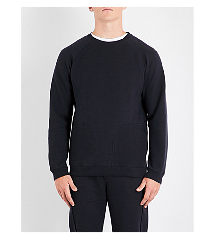 HAMILTON & HARE Crewneck cotton-blend sweatshirt (Storm+blue