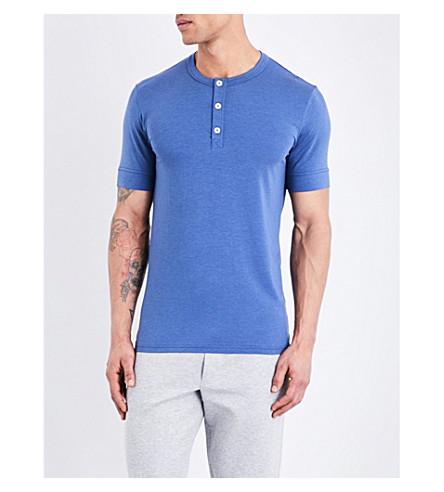 HAMILTON & HARE Henley cotton-blend T-shirt (Blue