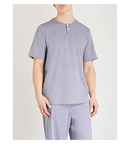 HAMILTON & HARE Short-sleeved chambray pyjama top (Blue