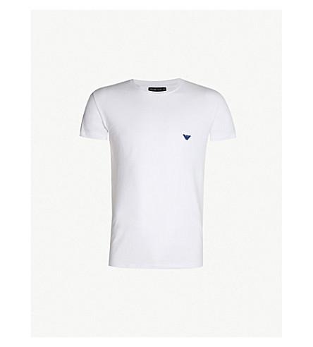 EMPORIO ARMANI Logo-detail stretch-cotton T-shirt (White