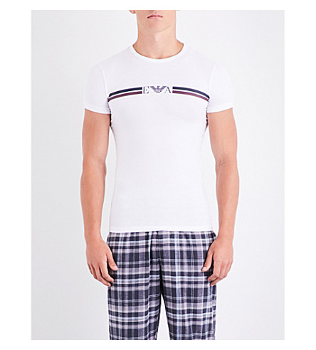 EMPORIO ARMANI Eagle-print cotton-jersey T-shirt (White