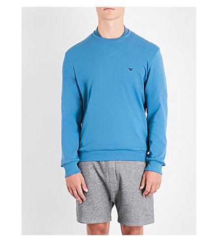 EMPORIO ARMANI Logo-embroidered cotton-jersey sweatshirt (Lt+blue