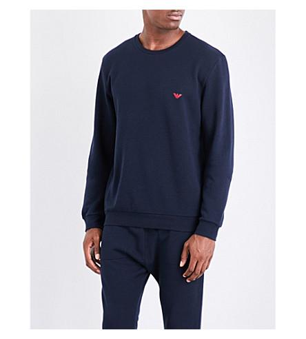 EMPORIO ARMANI Logo-print cotton-jersey sweatshirt (Navy