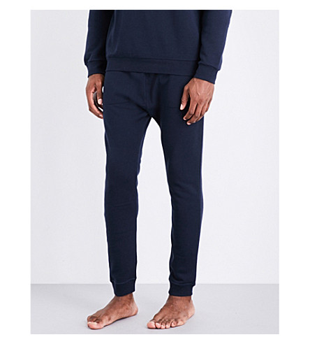 EMPORIO ARMANI Logo-print cotton-jersey jogging bottoms (Navy