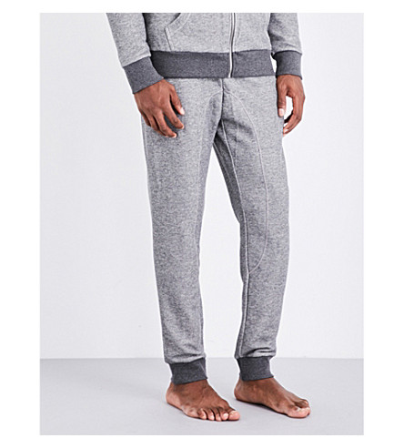 EMPORIO ARMANI Logo-embroidered cotton-blend jogging bottoms (Lt+grey+mel