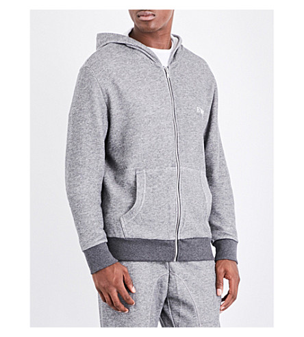 EMPORIO ARMANI Logo-embroidered cotton-blend hoody (Lt+grey+mel