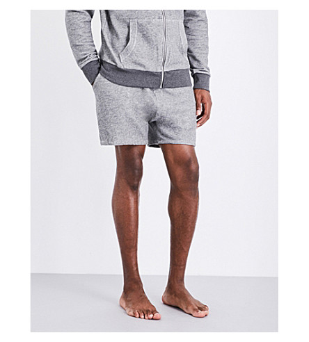 EMPORIO ARMANI Logo-embroidered cotton-blend shorts (Lt+grey+mel