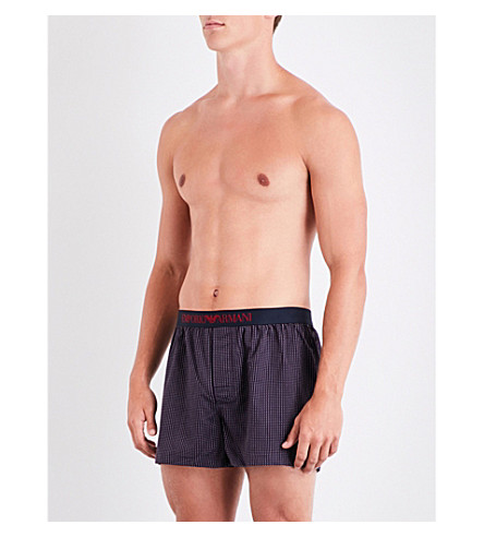EMPORIO ARMANI Dot-patterned relaxed-fit woven boxers (Navy+red