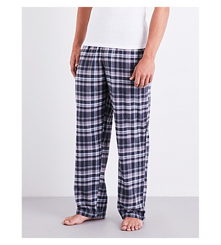 EMPORIO ARMANI Checked brushed-cotton pyjama trousers (Lt+blue