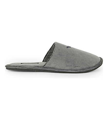 EMPORIO ARMANI Velour slippers (Grey