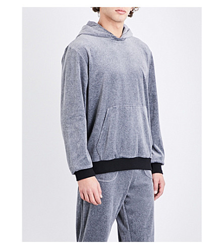 EMPORIO ARMANI Logo-embroidered velour hoody (Lt+grey