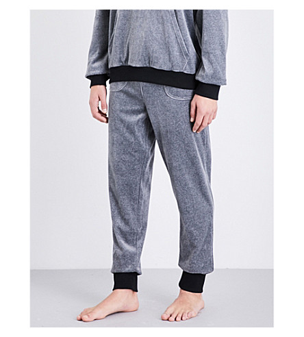 EMPORIO ARMANI Logo-embroidered velour jogging bottoms (Lt+grey