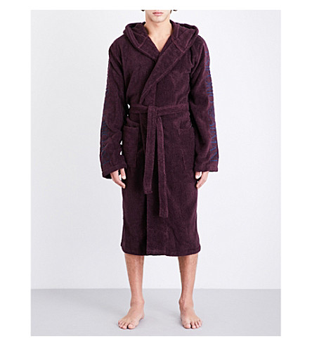 EMPORIO ARMANI Hooded towelling dressing gown (Burgundy