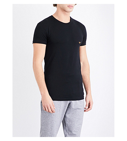 EMPORIO ARMANI Logo-print stretch-cotton T-shirt (Black+gold