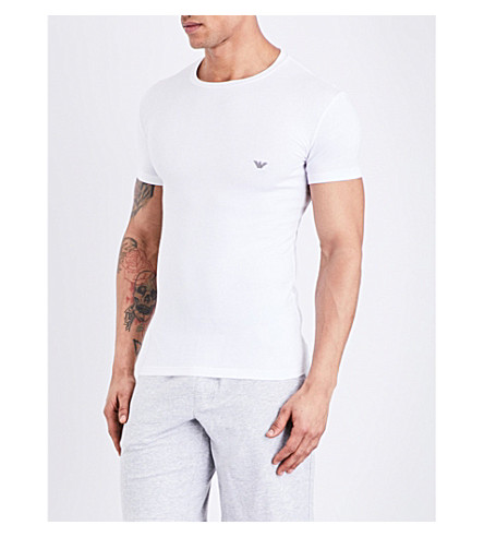 EMPORIO ARMANI Crewneck cotton T-shirt (White