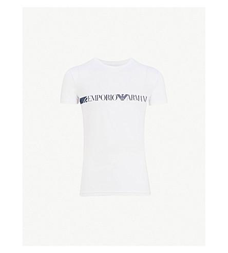 EMPORIO ARMANI Logo-print cotton-jersey T-shirt (White