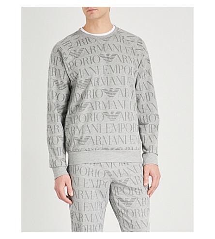 EMPORIO ARMANI Logo-print cotton-blend sweatshirt (Grey
