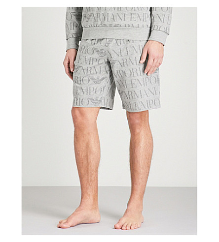 EMPORIO ARMANI Logo-print cotton-blend jogging bottoms (Grey