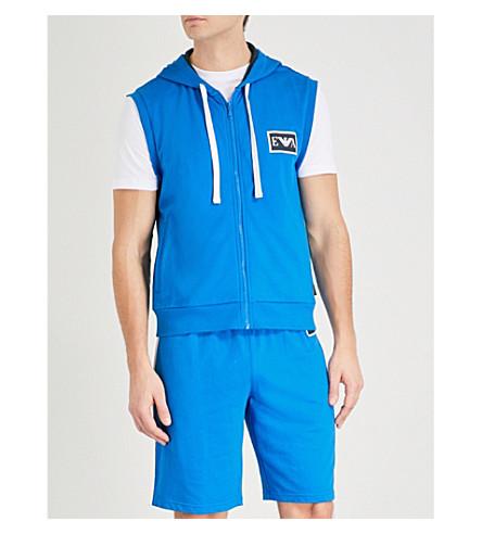 EMPORIO ARMANI Logo-print stretch-cotton hoody (Brt+blue