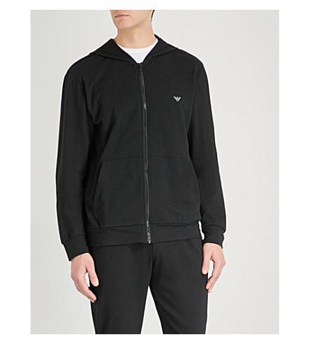 EMPORIO ARMANI Logo-print stretch-cotton hoody (Black
