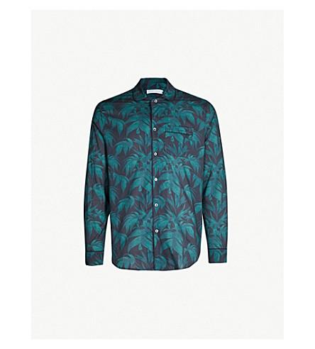 DESMOND AND DEMPSEY Byron cotton pyjama shirt (Navy green